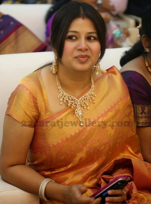 Sangeetha In Diamond Set And Jhumkas Jewellery Designs