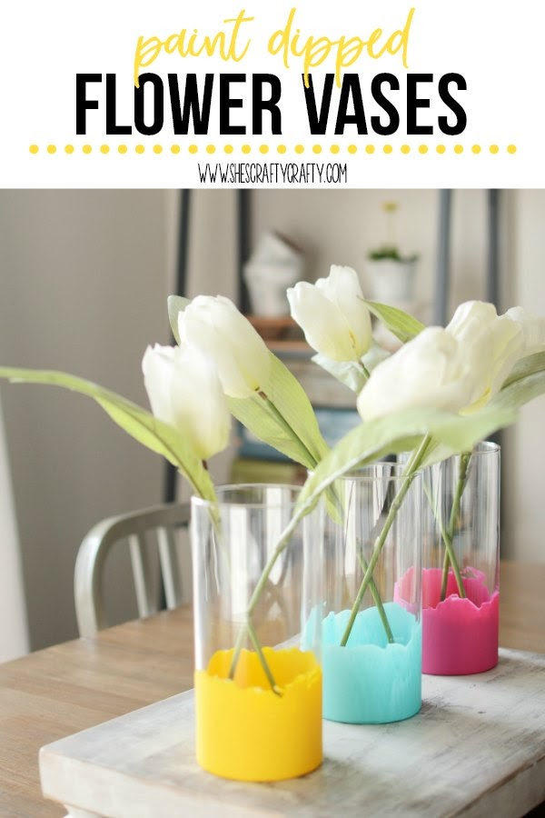 How to Paint Dip a glass vase for Spring Decor