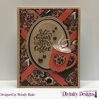 But First Coffee, Stamp/Die Duos: Cocoa & Coffee, Custom Dies: Ovals, Oval Stitched Rows, Quilted Background, Paper Collection:  Latte Love
