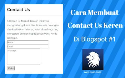 Cara Memasang Contact Us Keren di Blogger #1