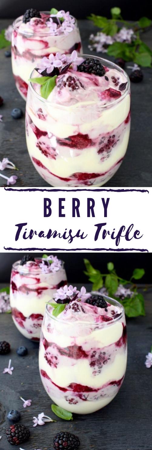 Berry Tiramisu Trifle Recipe #dessert #yummy #tiramisu #blueberry #cakes