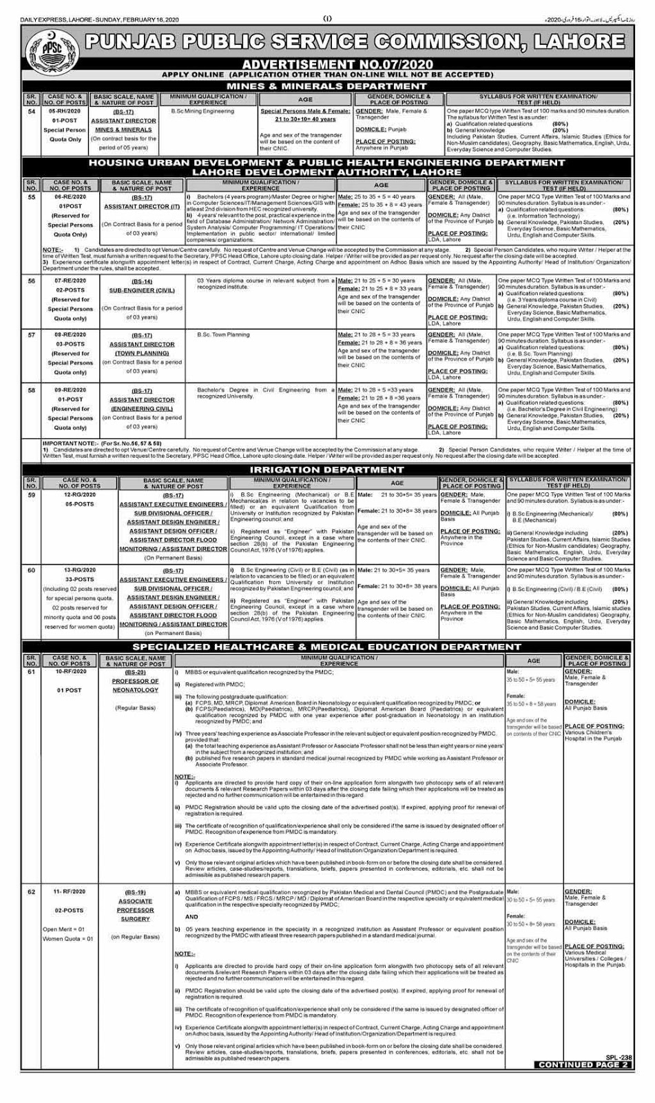 Latest jobs in (PPSC) Punjab Public Service Commission February 2020