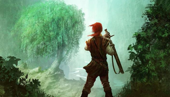 Imagem: ilustração com a figura de um rapaz de cabelos compridos em uma túnica marrom e erguendo uma espada observando uma árvore ao fundo de um vale de folhas verdejantes.