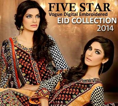 Five Star Vogue Digital Embroidered Eid Collection 2014 ... |Five Star Lawn Eid Collection