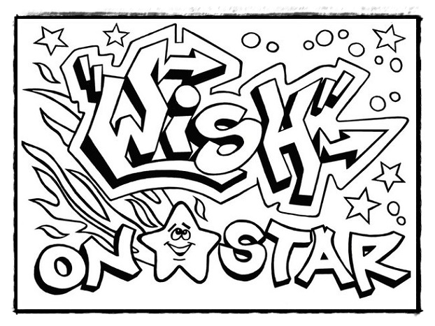Ausmalbilder Graffiti Ausdrucken, Graffiti Schrift zum Ausmalen