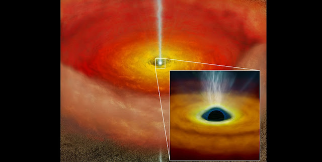 Artist's conception of the accretion disk around a spinning super-massive black hole. The rotation of the black hole may cause the high-speed jet which makes the object radio-loud. Credit: NAOJ