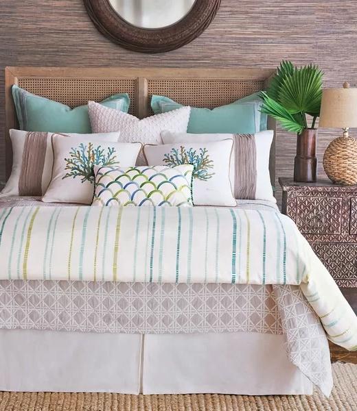 Luxury Coastal Green Bedding Duvet Set Idea