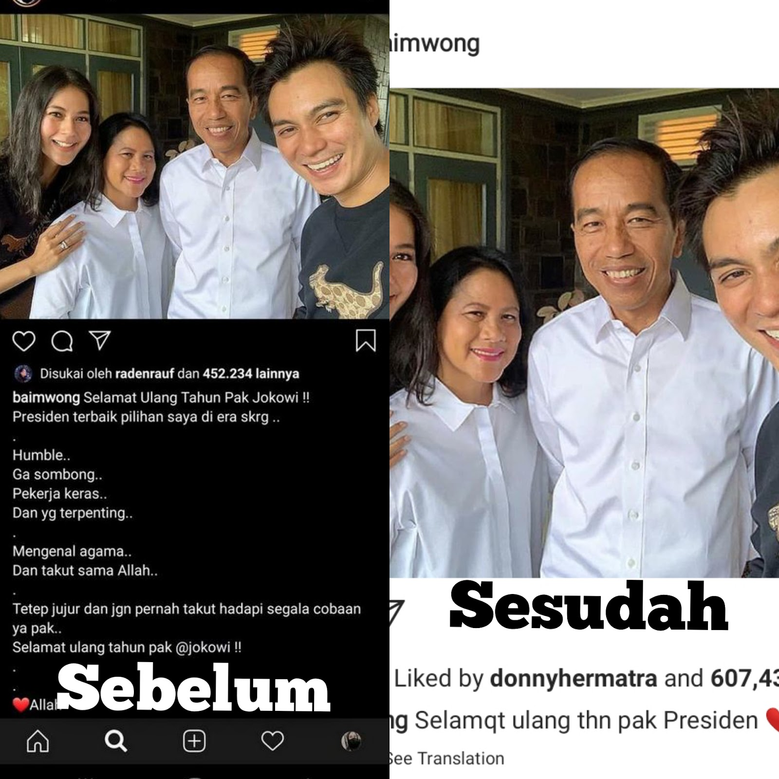 Kapok, Baim Wong Hapus Pujian ke Jokowi dan Ngunci Kolom Komentar