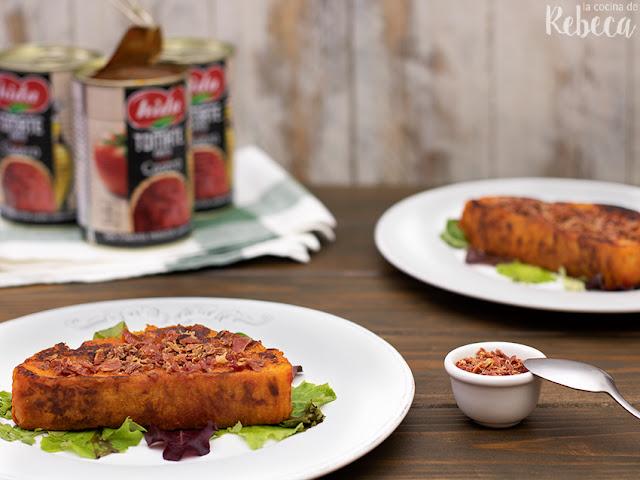 Torrijas de tomate con polvo de jamón