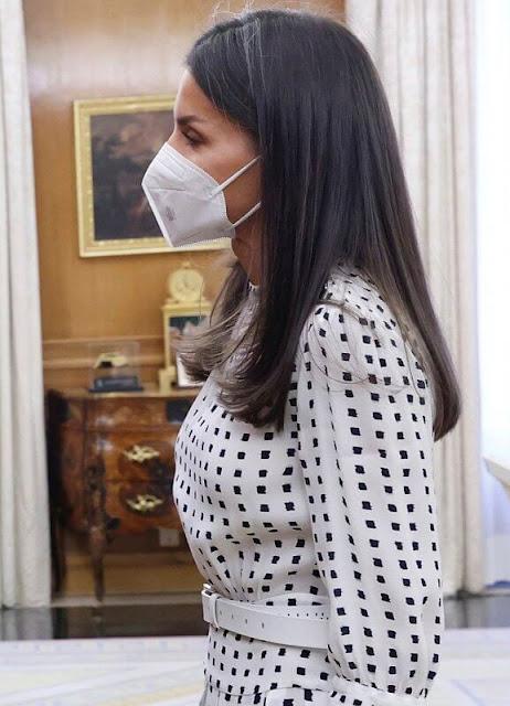 Queen Letizia wore a polka dot print midi dress from Massimo Dutti