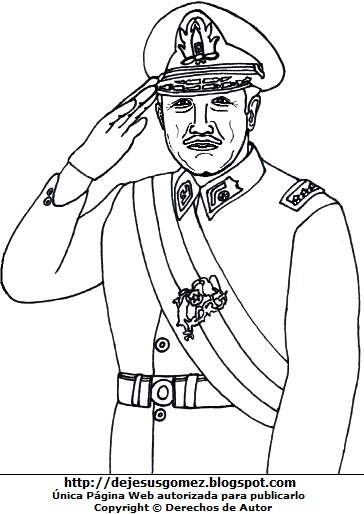Imagen de Augusto Pinochet para colorear pintar imprimir. Dibujo de Augusto Pinochet de Jesus Gómez
