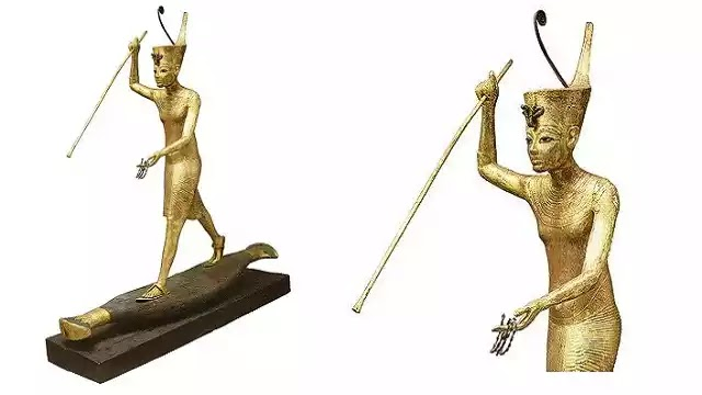 Gilded Statuette of Tutankhamun with a Harpoon