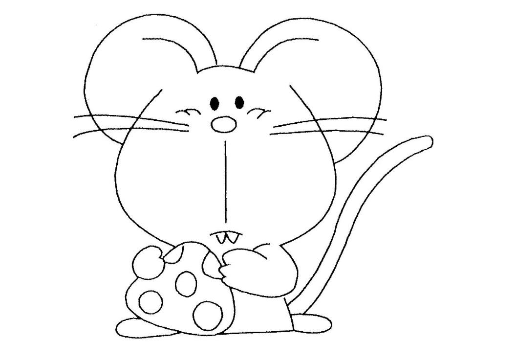 Tranh tô màu con chuột ăn phô mai