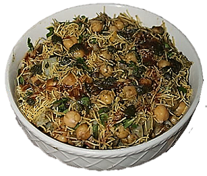 A homemade famous street food aloo chana chaat with mung dal.||