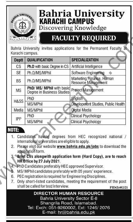 www.bahira.edu.pk Jobs 2021 - Bahria University Jobs 2021 in Pakistan