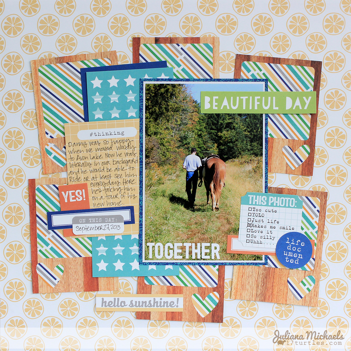 Together Scrapbook Page by Juliana Michaels for Elle's Studio using Inlaid Die Cut Technique