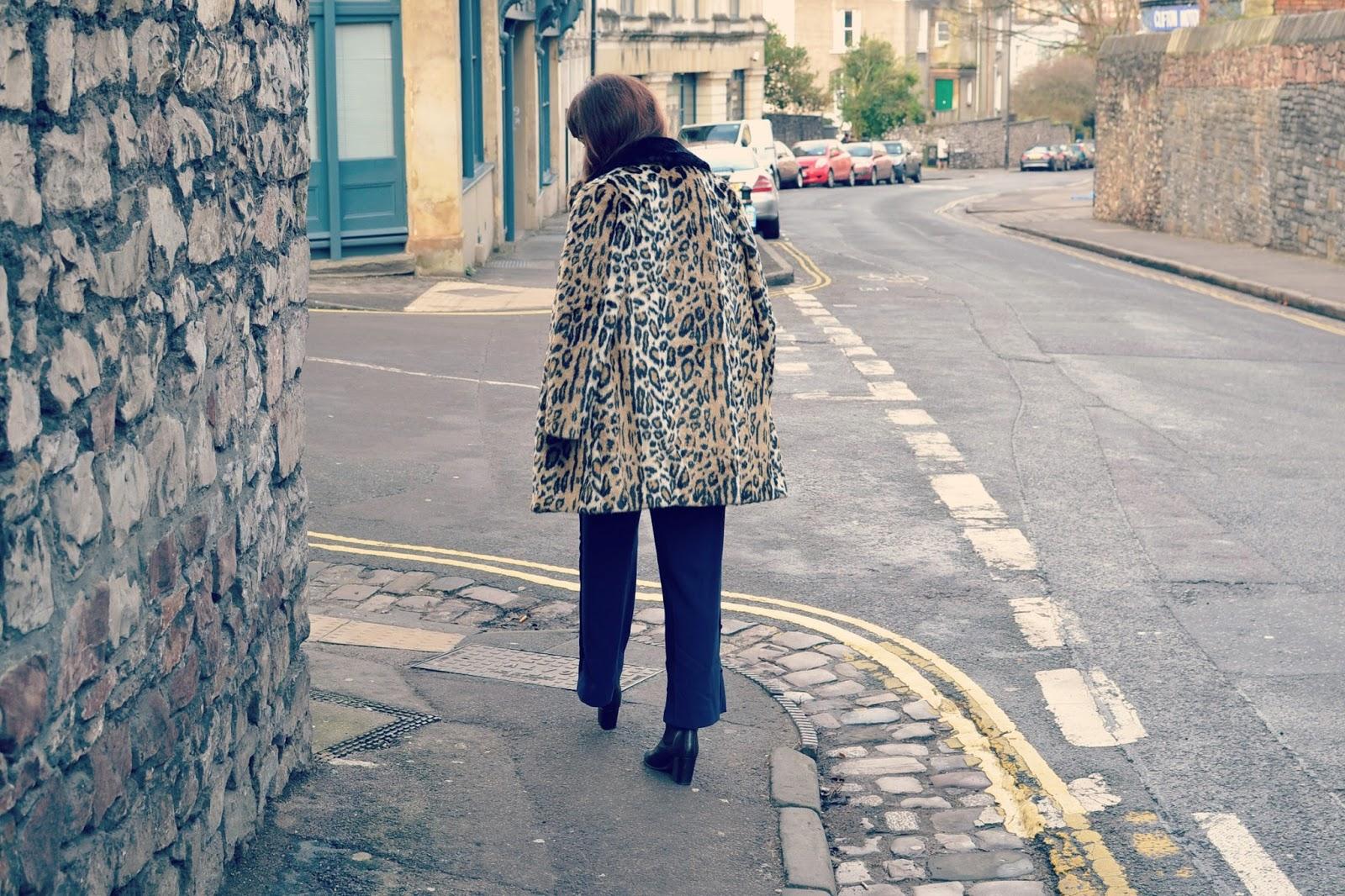 topshop leopard print coat ASOS culottes Topshop boots