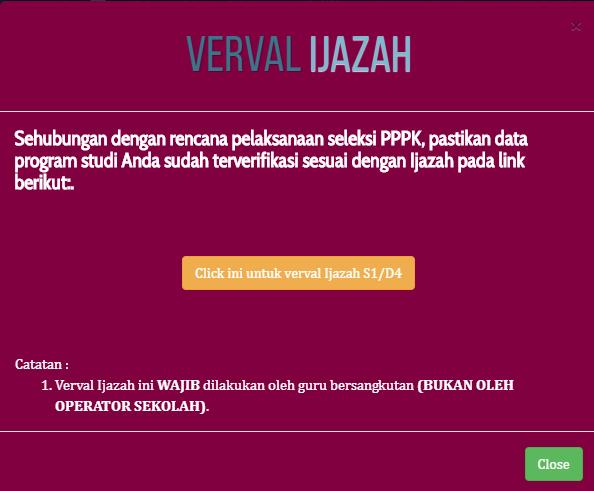 Verval ijazah di Info GTK untuk persiapan seleksi PPPK