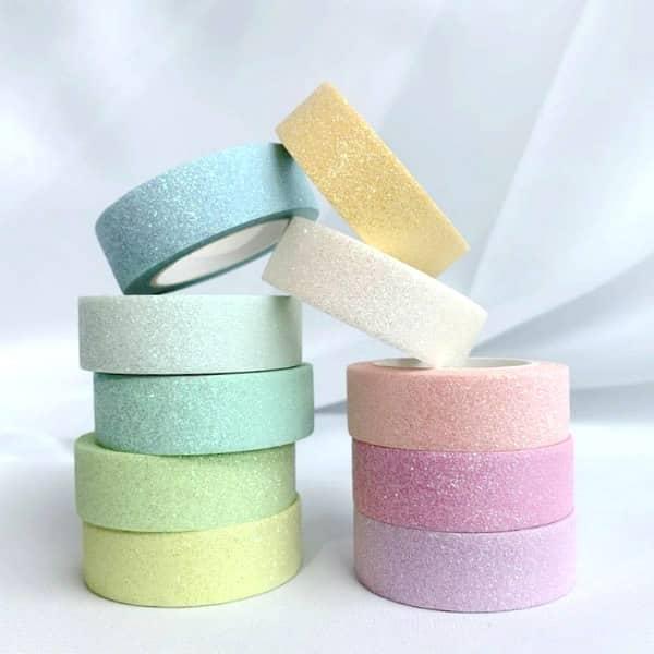 ten rolls of glitter washi tape in pastel colors
