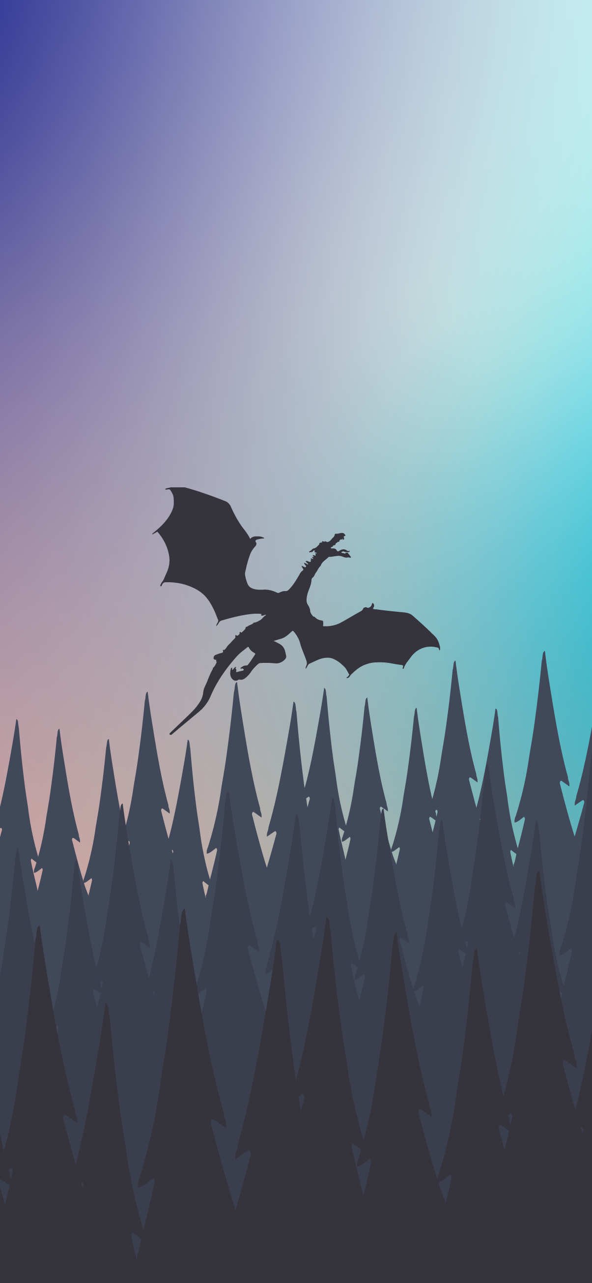 dragon flying above a forest