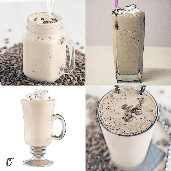 Right to Left: Cafe Mocha Protein Shake, Coffee Milkshake, Frosty-Mint Coffee Shake, Thai Iced Coffee Protein Shake