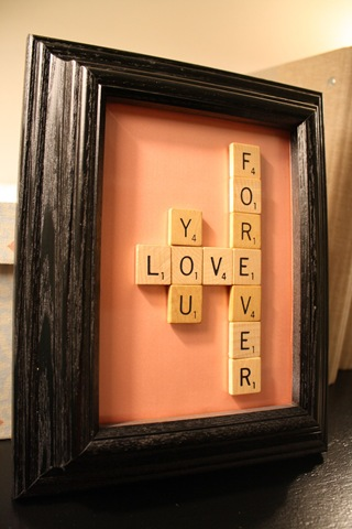Valentine scrabble art