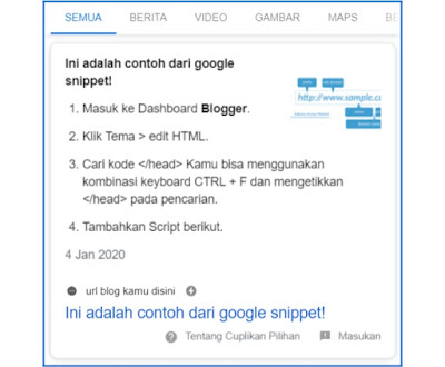Cara dan Trik Memperoleh Google Snippet di Blogger