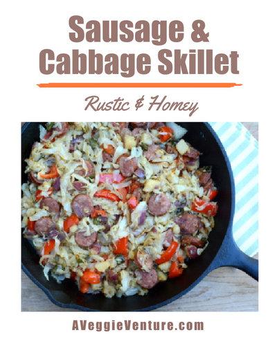 Sausage & Cabbage Skillet, another Quick Supper ♥ AVeggieVenture.com
