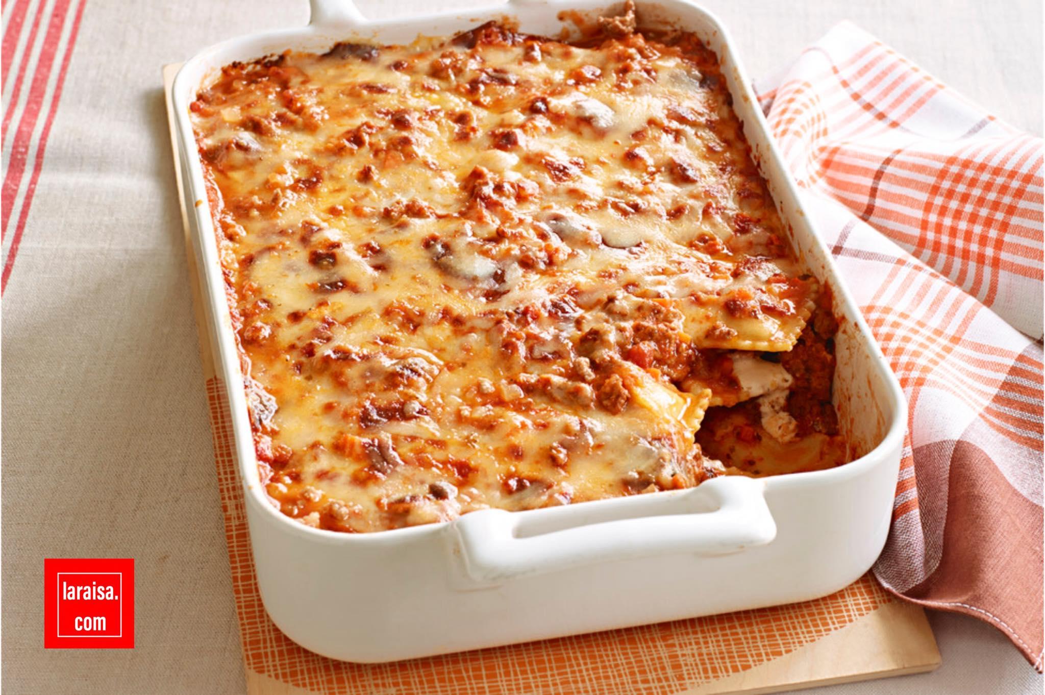 لازنيا رافيولي بالجبنة من أكلات المطبخ الإيطالي