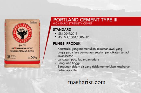 Portland Cement Type III – for high early strength