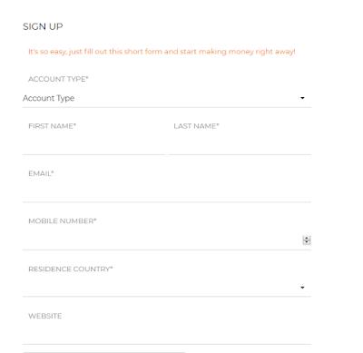 jumia affiliate sign up form
