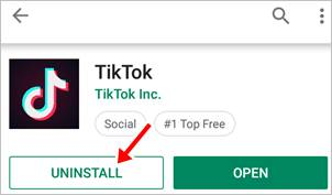 google play store tik tok app uninstall