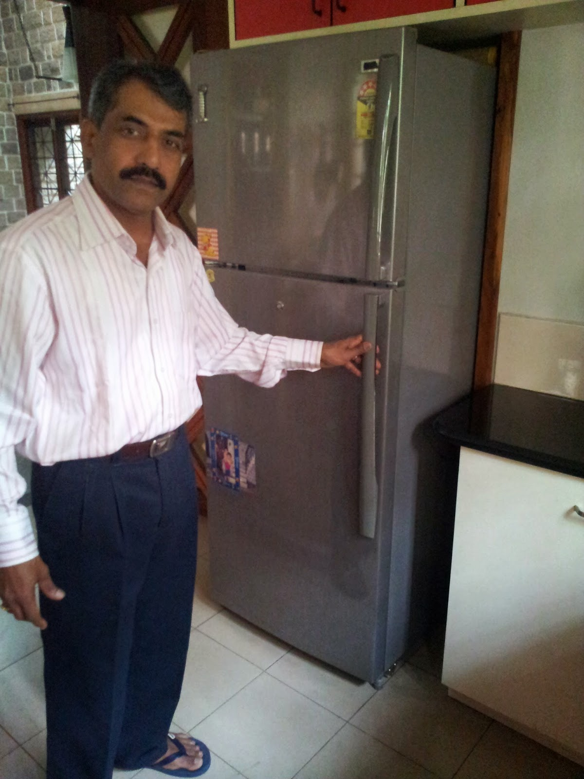 Modified Refrigerator With Handle On The Right Hand Side And Hinges Left