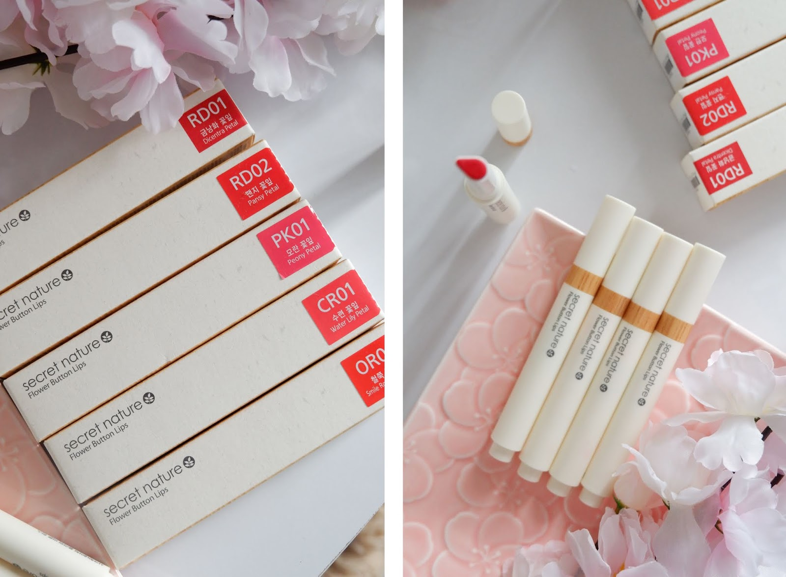SECRET NATURE FLOWER BUTTON LIPS REVIEW: FLATTERING RED SHADES FOR EVERY SKIN TONES