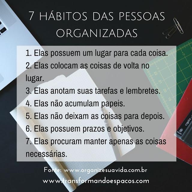 7 hábitos das pessoas organizadas