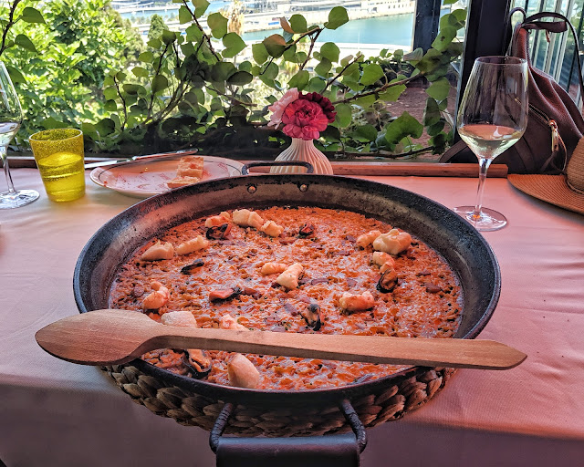 Paella and a sea view at Martinez in Barcelona, Spain