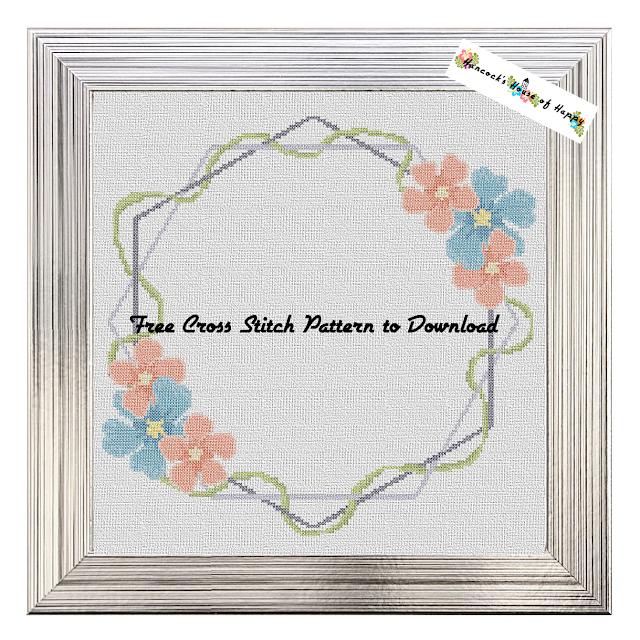Free Cross Stitch Wedding Sampler Pattern. Boho Style Cross Stitch Frame.