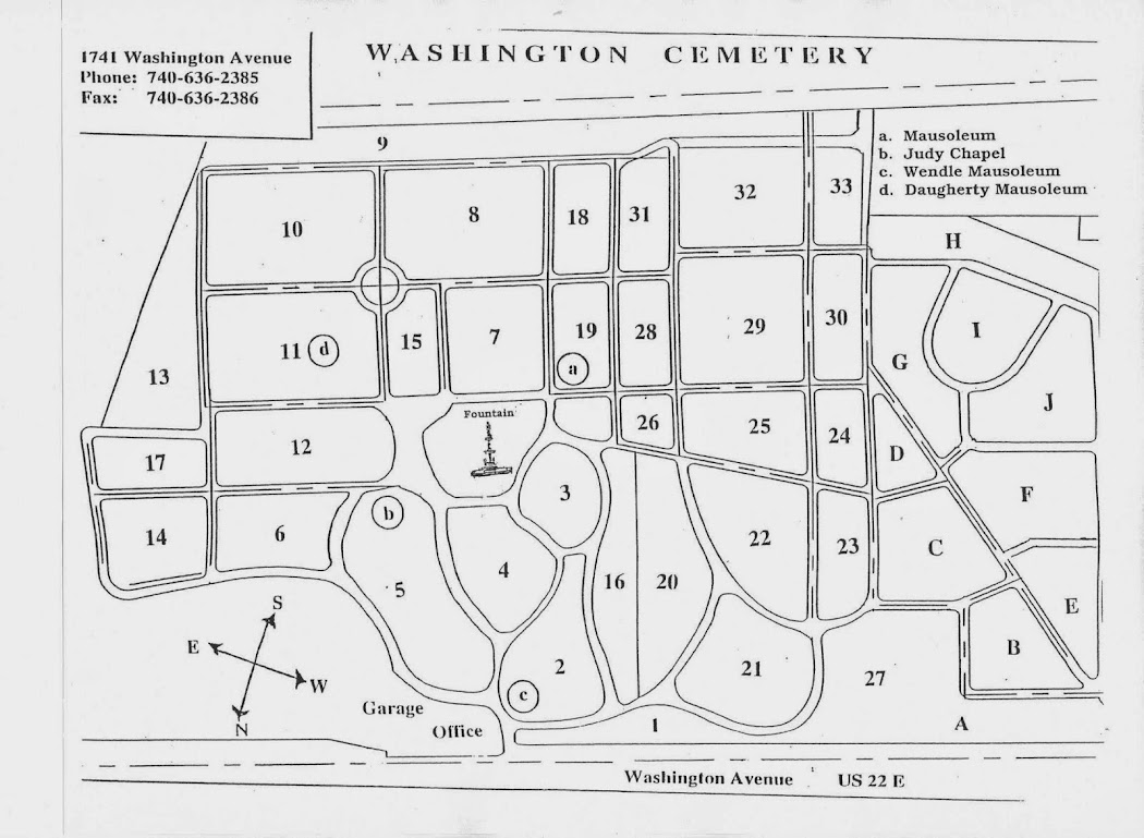 Washington Cemetery Section Map