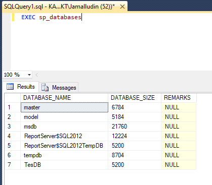 Exec sp_databases