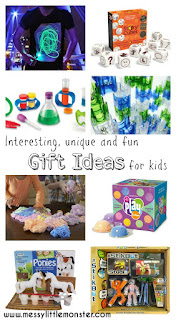 Unique, interesting and fun gift ideas for kids. A gift list full of creative present suggestions for children that are reasonably priced.