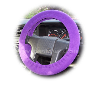 Purple fleece car steering wheel cover