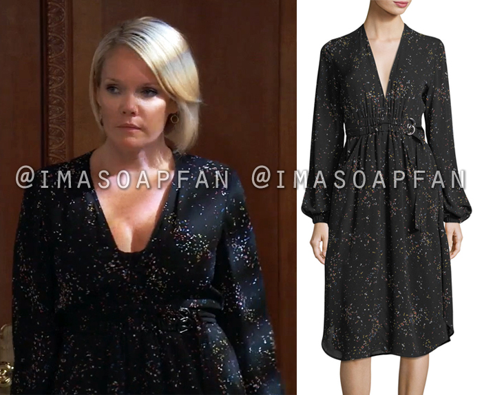 Ava Jerome, Maura West, Black Silk Dress with Multicolored Speckled Print, General Hospital, GH