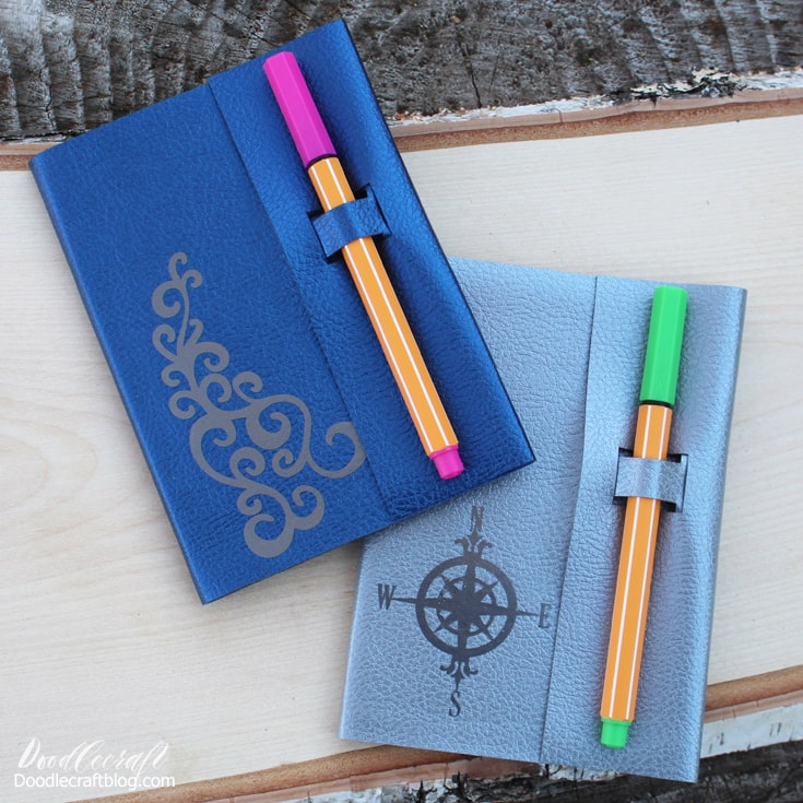 Leather notebook covers journals cut and personalized with the Cricut Maker and vinyl