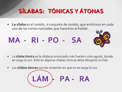 Resultado de imagen de SILABA TONICA