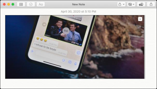 تم لصق الصورة من iPhone في Apple Notes على Mac