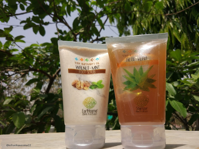 The Pink Velvet Blog - The Nature's Co. Walnut Mint Foot Scrub and Aloe Vera After Sun Gel