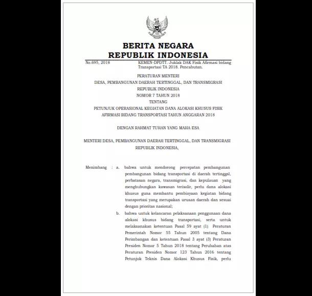 Permendesa PDTT Nomor 7 Tahun 2018 Tentang Petunjuk Operasional Kegiatan Dana Alokasi Khusus (DAK) Fisik Afirmasi Bidang Transportasi Tahun Anggaran 2018