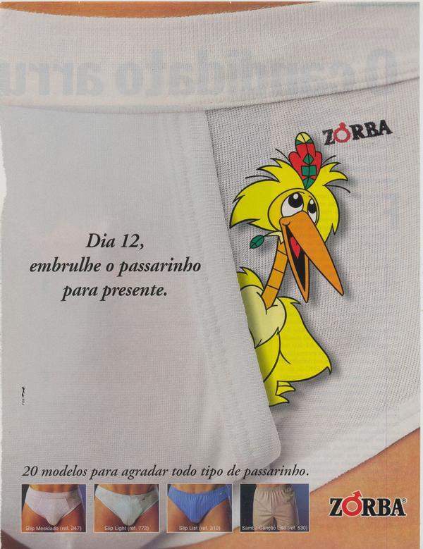 Propaganda da Cueca Zorba em 1996 apostando no bom humor da campanha para promover o Dia dos Namorados