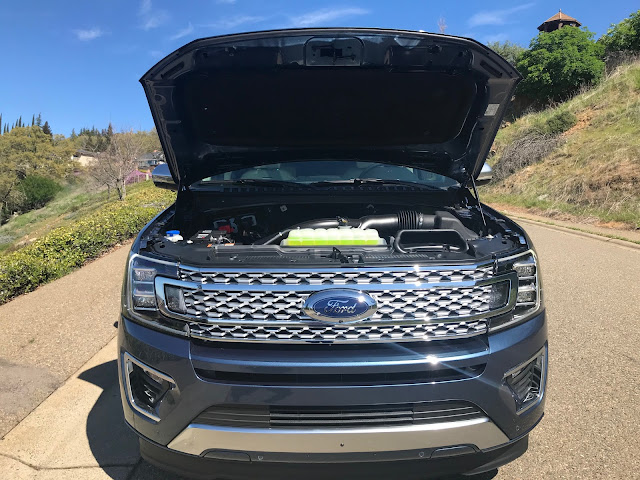 Hood up on 2020 Ford Expedition Platinum