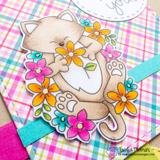If Friends Were Flowers Kitty Card by Zsofia Molnar | Newton's Flower Garden Stamp Set by Newton's Nook Designs #newtonsnook #handmade